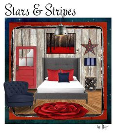 """""""Stars & Stripes Rustic Red"""" by dop37 ❤ liked on Polyvore featuring interior, interiors, interior design, home, home decor, interior decorating, Currey & Company, Pottery Barn, Robert Abbey and Ralph Lauren Home"""