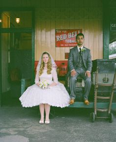 train depot wedding photo. Need vintage luggage!!!! Props!!!