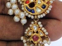 Antique gold earrings with pearls and kundan