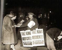 Selling newspapers at Ludgate Circus when King Edward VIII abdicated - UK - 10 December 1936