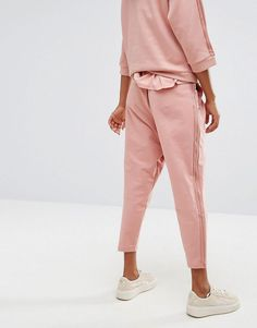 Puma High Waisted Sweat Pant With Sheer Panelling - Pink