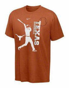 Nike Texas Longhorns Youth Baseball Graphic T-shirt - Burnt Orange by Nike. $17.88. Screen print graphics. University name runs vertical down the left front. Officially licensed by the NCAA. Rib-knit tagless collar. 100% cotton crewneck tee. Get your young Longhorns fan pumped for all the head-to-head action of NCAA baseball in this Graphic tee from Nike!