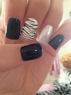 Image via Zebra nails designs one nail Image via Teal and black zebra. Image via Step By Step Nail Art Tutorials For Beginners Zebra Nails Art Image via Acrylic nail desig Zebra Nail Designs, Zebra Nail Art, Nail Art Designs 2016, Latest Nail Designs, White Nail Art, White Nails, Black Nails, Nails Design, White Manicure