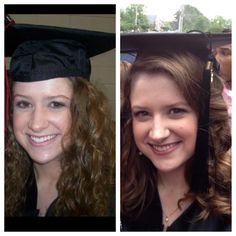 Ladies, I just thought I would share a tip I learned... The left is from high school graduation (notice the fabric on my forehead), and the right is for college (notice the lack of fabric). If you tuck the front third of the fabric under your cap and secure the whole thing with bobby pins, you might like your grad pics a little more! Happy graduation, everyone!