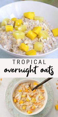 Healthy Breakfast Recipes, Healthy Snacks, Healthy Eating, Healthy Recipes, Clean Eating, Pineapple Recipes For Breakfast, Pineapple Recipes Healthy, Salmon Recipes, Overnight Oats With Yogurt