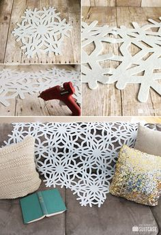 Hot glue felt snowflakes together to drape a lacy throw over your sofa. | 42 Money-Saving Dollar Store Tricks For Your Entire Life