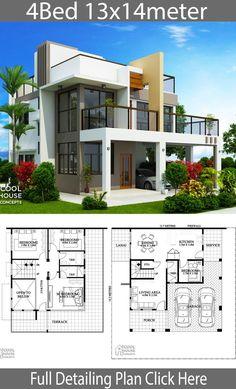 Home design plan with 4 Bedrooms - Baustil 2 Storey House Design, Bungalow House Design, House Front Design, Modern House Design, Modern Houses, Sims House Plans, House Layout Plans, House Layouts, Model House Plan