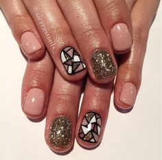 Six most Sense of creativity nails - Dazhimen Get Nails, Fancy Nails, Love Nails, How To Do Nails, Pretty Nails, Creative Nails, Nails On Fleek, Manicure And Pedicure, Short Nails