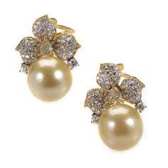 Earrings 18K Yellow Gold Diamond & Yellow Pearl Flower Earrings