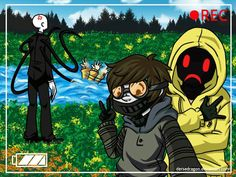 Masky! He drowns! Hoodie help he! xD toby and masky are just like selfie while slender has to pull masky out