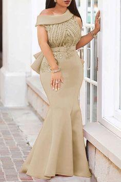 87315ff66635 Sequins Mermaid Oblique Collar Women s Dress African Fashion Dresses