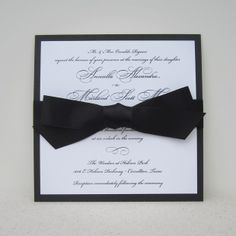 grace wedding invitation with bow: black for a formal, classic look