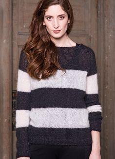 Ravelry: Stripete genser pattern by Sandnes Design Knitting Patterns Free, Free Knitting, Free Pattern, Pullover, Knit Cardigan, Ravelry, Knit Crochet, Turtle Neck, Sweaters