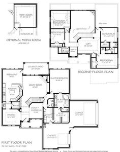 2- STORY 3885 square foot air conditioning, (optional Media Room - add 365 S.F.) 4 bedroom, study, dining, breakfast, gameroom or 5th bedroom, large loft, open kitchen, 2 story family room. This is a great plan for a large family with lots of options.