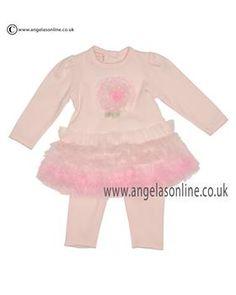 Kate Mack Girls Ruffle Skirt Dress & Leggings 401 RP Pink. Baby girls winter long sleeve dresses by Kate Mack 2015. Small baby girls dress by  designer Kate Mack.