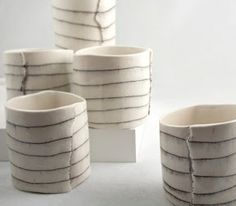 Btw ceramics Line Alternative to carving chunks out. Subtle line with glaze pencil or engobe