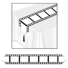 Club Pack of 12 Black and White Printed Filmstrip Table Runners with Tassel 6'
