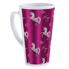 Dancing Pink Unicorns 17 oz Latte Mug by Graphic_Allusions - CafePress Unicorn Crafts, Unicorn Art, Unicorn Birthday Parties, Birthday Party Invitations, Unicorn Foods, Latte Mugs, Mug Designs, Unicorns, Dancing