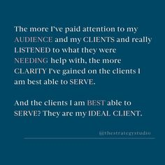 """Your """"ideal client"""".... It's that mystical term we hear so often used to describe the type of person you """"ideally"""" want to work with.  While we're all familiar with this concept, I find there's 2 misconceptions that comes along with it. . ▪️The assumption that once you've identified your """"ideal client"""", your work is done. . ▪️That money is the key identifier of your ideal client.  Your ideal client will and SHOULD change and evolve as your business does.  The type of client you aspired to… Small Business Resources, Pay Attention To Me, Social Media, Concept, Change, Key, Type, Unique Key, Social Networks"""