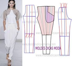 Faça a analise de forma detalhada do desenho do molde de calça franzida. Calça simples e bela, veste de forma descontraída e elegante. Easy Sewing Patterns, Shape Patterns, Dress Patterns, Bodice Pattern, Pants Pattern, Diy Pantalon, Pantsuits For Women, Pants For Women, Clothes For Women