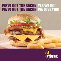 Steers takes a shot at Cape Town's Halaal Burger King Best Chips, South Africa, Hamburger, Bacon, Chicken, Cooking, Burgers, Ethnic Recipes, Cape