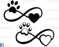 Infinity with paw and heart Cutting Files / Clipart Svg Png Jpg Eps Dxf Pdf Digital Graphic Design I Band Tattoos, Dog Tattoos, Cat Tattoo, Sexy Tattoos, Flower Tattoos, Body Art Tattoos, Small Tattoos, Tatoos, Cardinal Tattoo