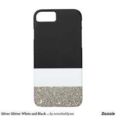 Silver Glitter White and Black Color Block iPhone 7 Case