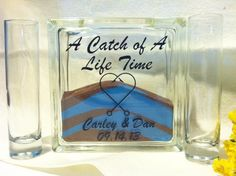Unity Sand Ceremony Set with Lid - Fisherman Wedding Theme - Sand Included - A Catch of a Lifetime