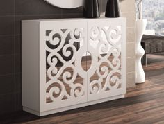 1950s Furniture, White Furniture, Modern Furniture, Room Deviders, Dremel Wood Carving, Cupboard Storage, Decoration, Interior Decorating, Room Decor