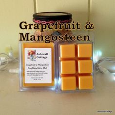 Grapefruit & Mangosteen Wax Melts, Soy Wax Melts, Wax Cubes, Fall Scents, Holiday Scents, Grapefruit and Mango, Strong, Handmade in the USA by AshcraftCottage on Etsy