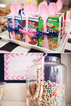 Great for a pajama party or even a Breakfast with Santa/Easter Bunny party!  Variety of individual cereal boxes for kids - tie the spoon to it for a cute look and to keep kids from touching EVERY spoon when they stick their hand in a bowl of spoons (am I right??) Making cereal necklaces as a craft or favor would be fun & fit the theme too!