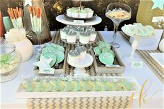 Cupcakes and Cookies and Pretzel sticks and Cakesicles and Meringue Cookies and so much more for a baby boy's christening! Baby Boy Christening, Pretzel Sticks, Meringue Cookies, Dessert Tables, Cookie Jars, Table Settings, Cupcakes, Table Decorations, Desserts
