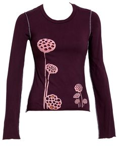 Flaunting an ultra-comfortable cotton material and casual-chic graphic, this top ensures laid-back style. Lotus Pods, Wearing Purple, Gamine Style, Laid Back Style, Casual Chic, Printing On Fabric, Tees, Shirts, Scoop Neck