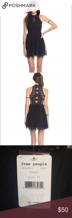 Free People Verushka Mini Dress Free People's party-ready lace dress size 12 is a sheer delight thanks to a romantic floral design and a peekaboo back that's guaranteed to turn a few heads. Shell: cotton/nylon; lining: rayon Mock neck, cut-away shoulders, sleeveless, gathered waist, flared skirt Sheer lace back with cutout detail, back button closure, scalloped hem, lined Free People Dresses Mini
