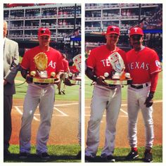 Heavy Metal! Beltre & his Rawlings Gold & Platinum Glove Awards, presented on April 6, 2013.
