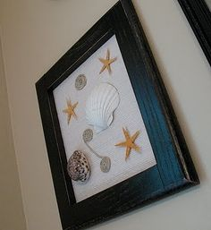 Great way to display some of my daughter's shells; and, a great way for her to express some of her creativity. #nautical #shell
