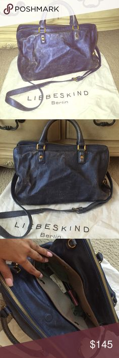 Metallic Blue Liebeskind Hangbag 100% genuine leather bag✨✨  only used for a few months and then stored but has some signs of wear on handles and on the bag itself. meant to be somewhat distressed and has character. comes with Crossbody strap and dust bag. just a beautiful & fun bag over all with plenty compartments &space. accepting reasonable offer  Liebeskind Bags