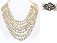PROPERTY OF ELLEN BARKIN: A MULTI-STRAND ANTIQUE PEARL NECKLACE. Designed as seven graduated strands of natural pearls, to the detachable old mine-cut diamond scrolled foliate clasp, mounted in silver and gold, circa 1870.