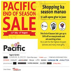 """Guys, Pacific Mall is celebrating the """"End of Season Sale"""" like never befoGuys, Pacific Mall is celebrating the """"End of Season Sale"""" like never before. This End of Season Sale you can get upto 70% off on many brands and can win exciting prizes like Rs. 5 lakh for the highest shopper . So don't stay at home, it's raining discounts at Pacific Mall, Be there! http://www.getitmalls.com/malls/Pacific-Mall-Delhi/Pages/default.aspx?tab=3"""
