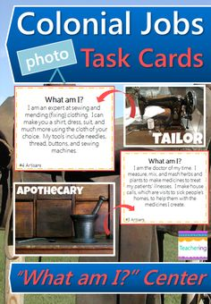 """Colonial Jobs Task Cards and vocabulary photo match.  Play as a scoot or Social Studies center. Match """"What am I"""" clues to labeled photographs of colonial artisan jobs. Supports ELLs & visual learners! Colonial Artisan Jobs Included: apothecary, blacksmith, cobbler, cooper, milliner, printer, silversmith, tailor, tanner, wheelwright   Aligns to GA's 4th grade Social Studies standards. Great review and test prep!"""