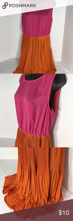 """Forever 21 Orange Pink Color Block Dress - Sz L/G Has stretch at waist.  Polyester/Spandex mix.  Approx measurements (Fkat without stretching):  Armpit-to-Armpit """".  Length """".  Please ask questions before purchasing.  Fair Condition.  Belt missing. See pictures for more information.  Thank you for stopping by my closet.  Sparkles ✨ and Happy Poshing!  📌Final Price. Forever 21 Dresses"""