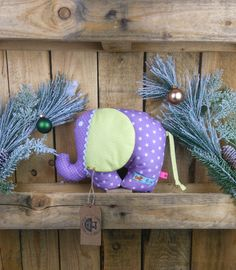 Kuscheltier Elefant für Baby,handgefertigt,100% Baumwolle,Elefant mit Wunschname eingestickt, Hanukkah, Wreaths, Toys, Mini, Baby, Home Decor, Color Yellow, Cuddling, Handmade