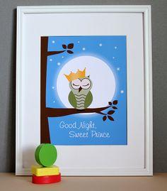 Nursery Art Boy Owl Good Night Sweet Prince by HopSkipJumpPaper, $20.00 @Michelle Flynn Baker