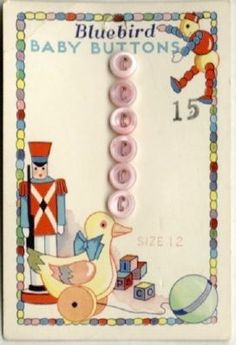 "(::)  vintage ""Bluebird"" Baby Buttons - see letters on stacked toy blocks? = Iowa Pearl Button Co."