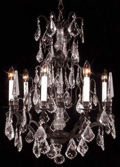 Antique bronze 24Wx31H - breakfast room? A47-3016-6 LIGHT FIXTURE Chandeliers, Crystal Chandelier, Crystal Chandeliers, Lighting