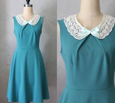 PRIM IN JADE - Teal blue green vintage inspired dress with lace bib necklace // mint green ribbon // bridesmaids // full flared skirt on Etsy, $68.00