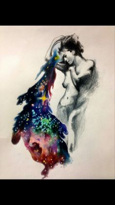 Aquarius pouring out the universe tattoo for Ellie Steffes by Melissa Thompson