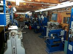An amazing machine shop in a basement.
