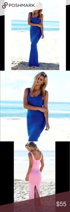 Miss holly blue st tropez maxi dress The  St Tropez dress is simply stunning!  It features a scoop neck and split in the back. The gorgeous fabric has stretch to it, it is lined and not sheer. Miss holly Dresses Maxi