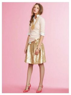 Great preppy button-up/sweater combo with metallic skirt, luv. Gold & Pink